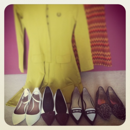 planning what to wear. Shoes from left: Kurt Geiger, Office, Karen Millen, Russell & Bromley