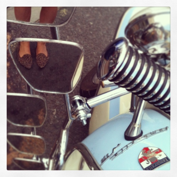 Russell & Bromley pointy flats reflected in a Lambretta's mirrors