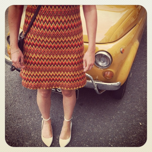 a dress my mum made in the Sixties, Kurt Geiger shoes and a Fiat 500 I fell in love with