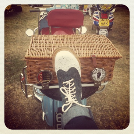 My Dr Marten Harris Tweed boots and a splendid scooter with a picnic basket! My scooter would definitely have a picnic basket.