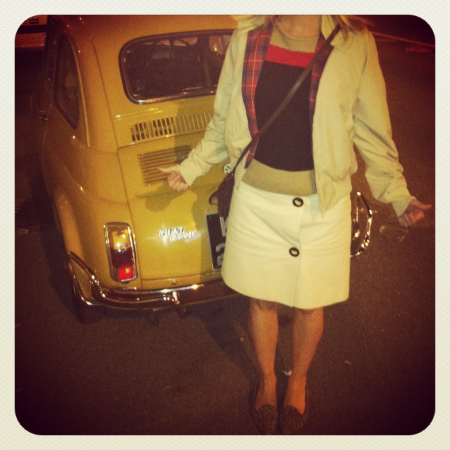 It's that Fiat 500 again! I'm wearing Russell & Bromley flats, Baracuta Harrington jacket, Sandro top and Marni skirt