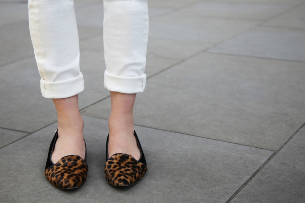 IDA Rizzo jeans, £160 (BUY ME HERE!), EnBrogue for Jemima Vine leopard slippers, £xx (xxx)