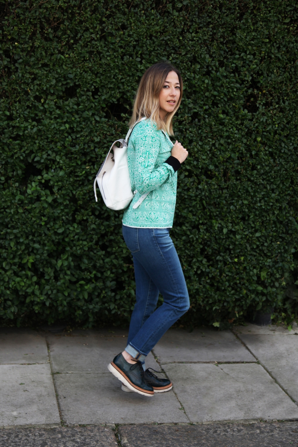 En Brogue pretends to do a bit of modelling...jumper, £xx, by Leon & Harper Maben (BUY ME HERE!), jeans, £xx, by Frame Denim (BUY ME HERE!)