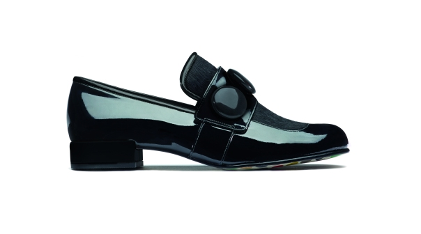 Clarks X Orla Kiely, Orla Dora Black Leather, £160