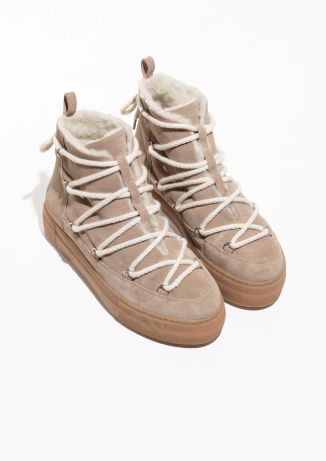 & Other Stories beige snow boots
