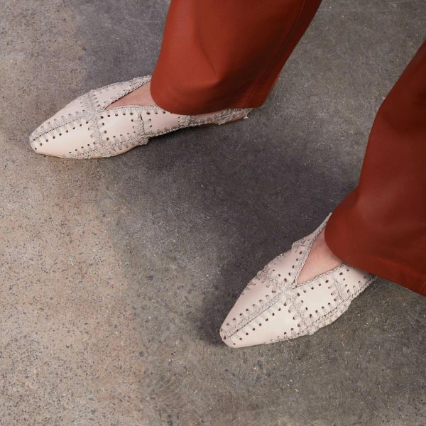 Miista white leather flats