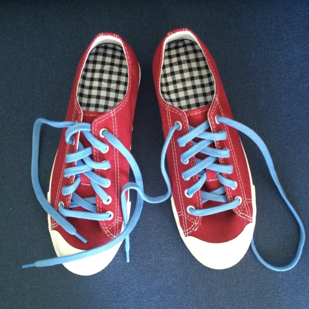 MUJI red sneakers