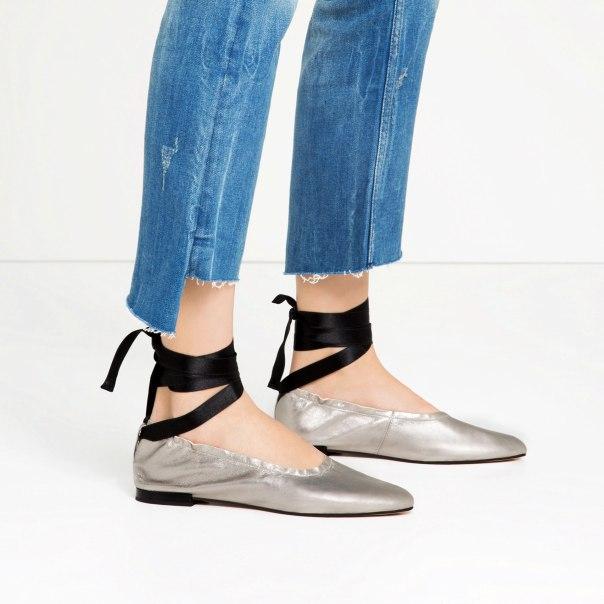 Zara ballet pumps silver