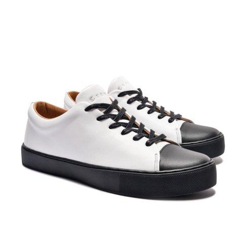 abington toe cap sneaker white black
