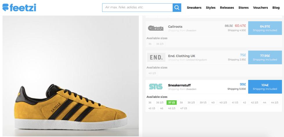 adidas Gazelle gold and black Feetzi