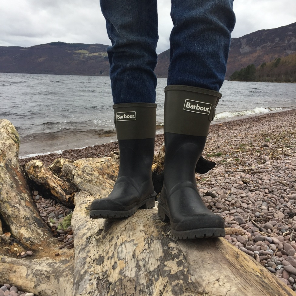 Barbour short wellies on Loch Ness