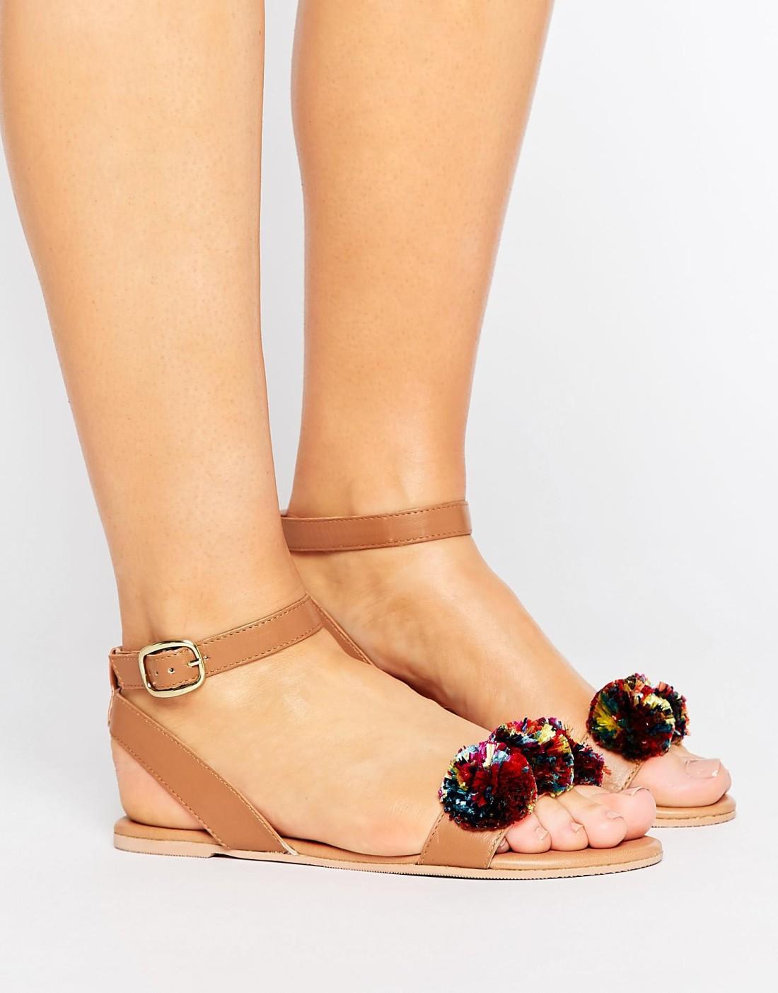 ASOS pom pom sandals