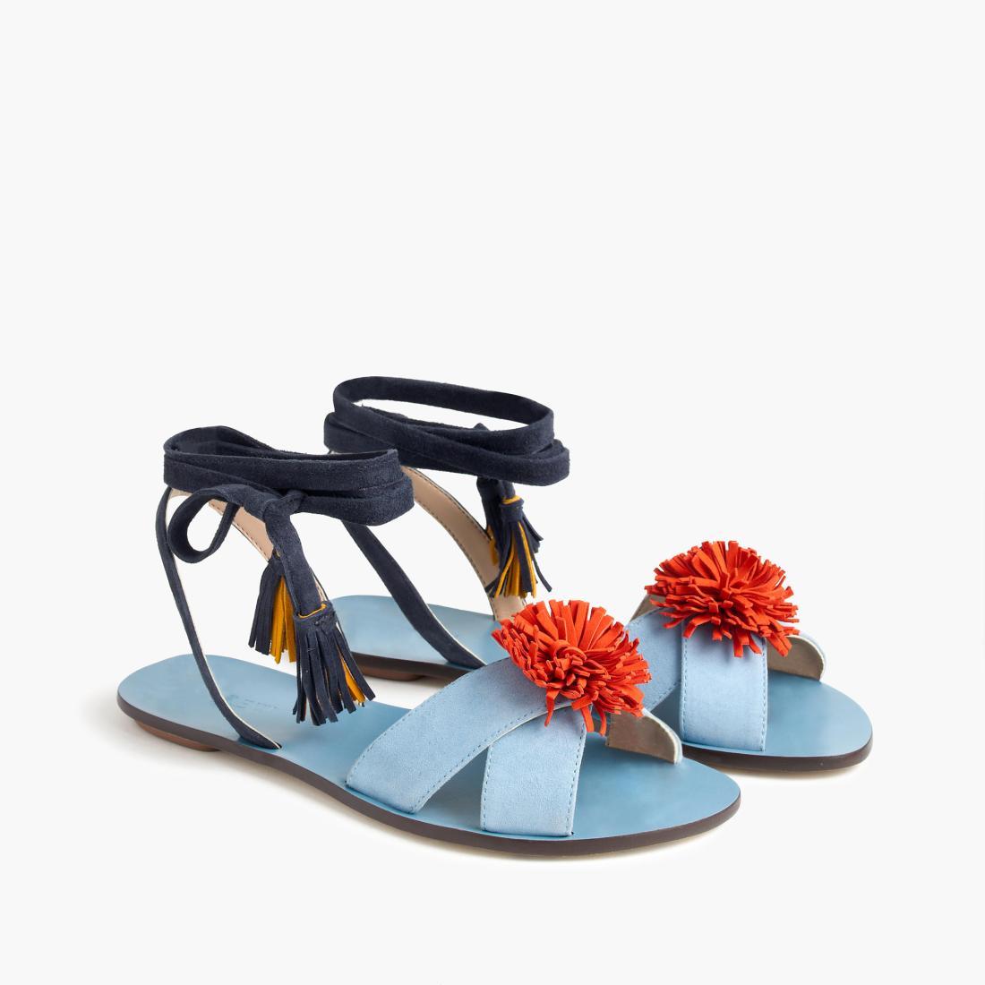 J Crew pom pom sandals