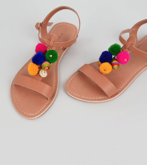 New Look pomppom sandals