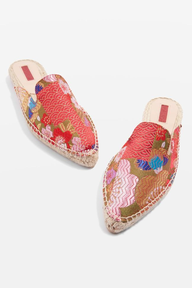 Topshop Knight pointy espadrilles embroidered
