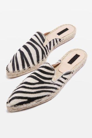 Topshop Knight pointy espadrilles zebra