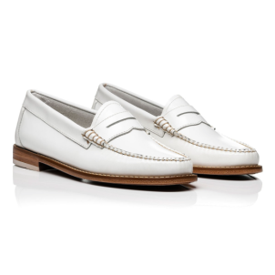 Bass Weejuns white loafers