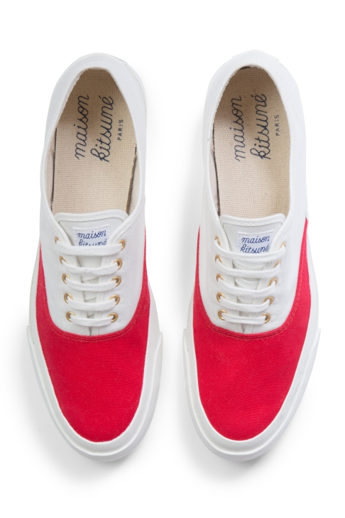 Maison Kitsune bicolour sneakers red