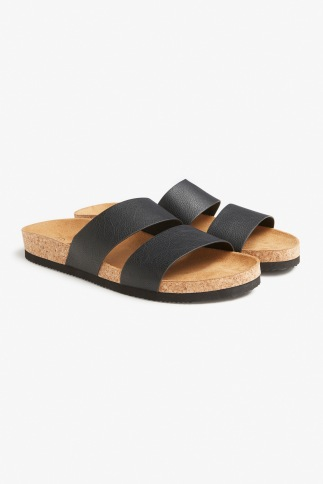 Monki black leather slides