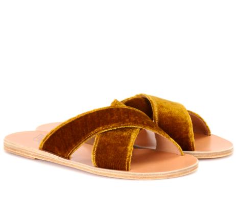 Ancient Greek Sandals velvet slides