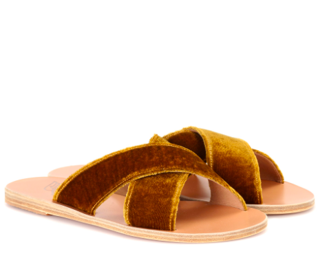 Ancient Greek Sandals velvet slides