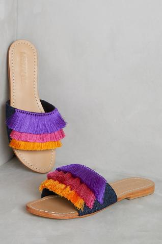 Anthropologie fringed mules