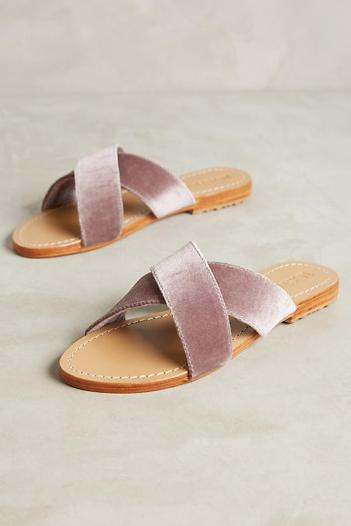 Anthropologie velvet slides