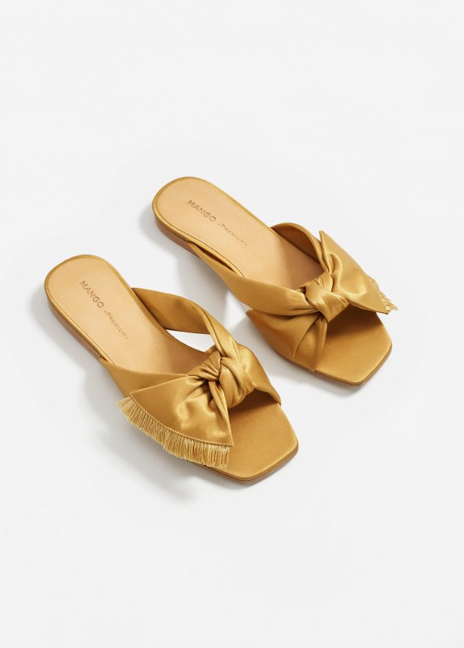 Mango satin bow slides