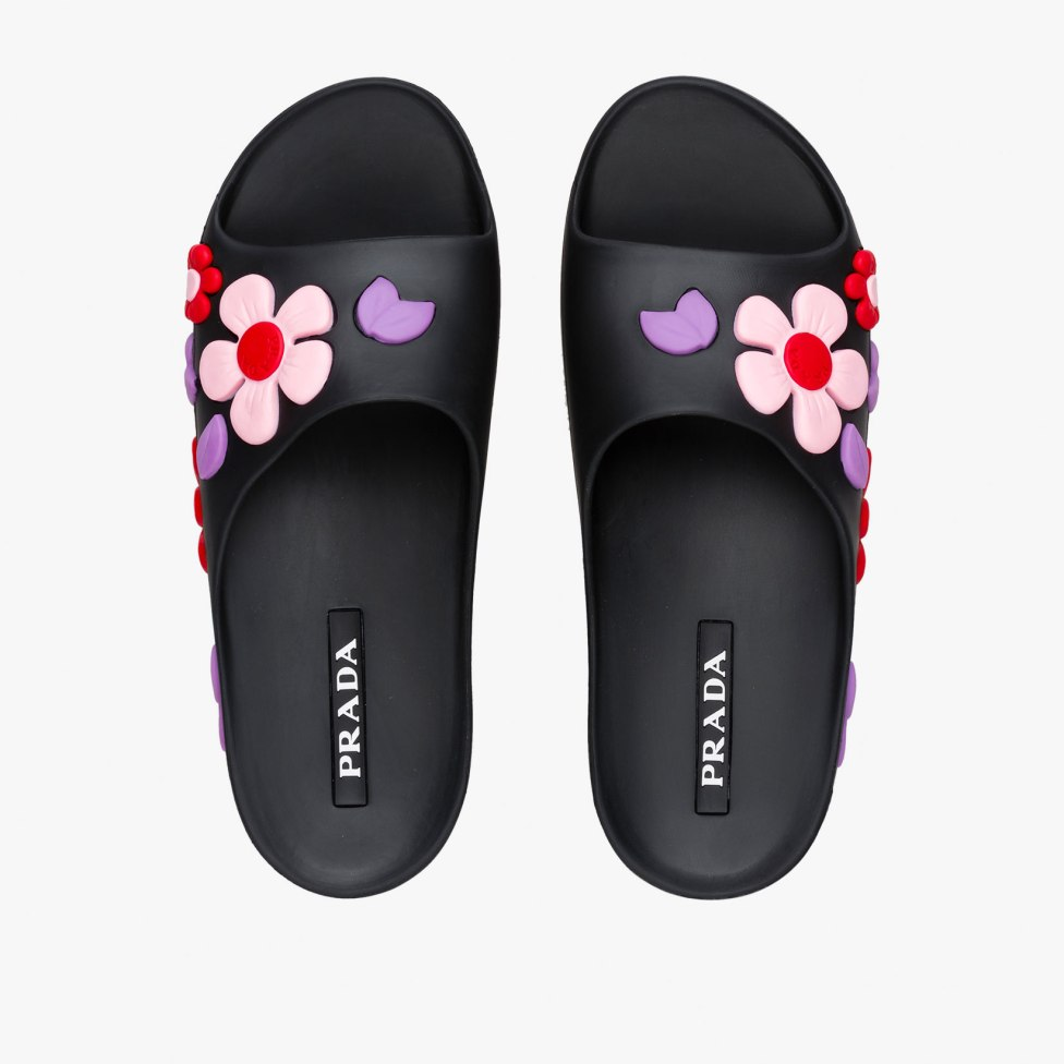 Prada floral rubber slides