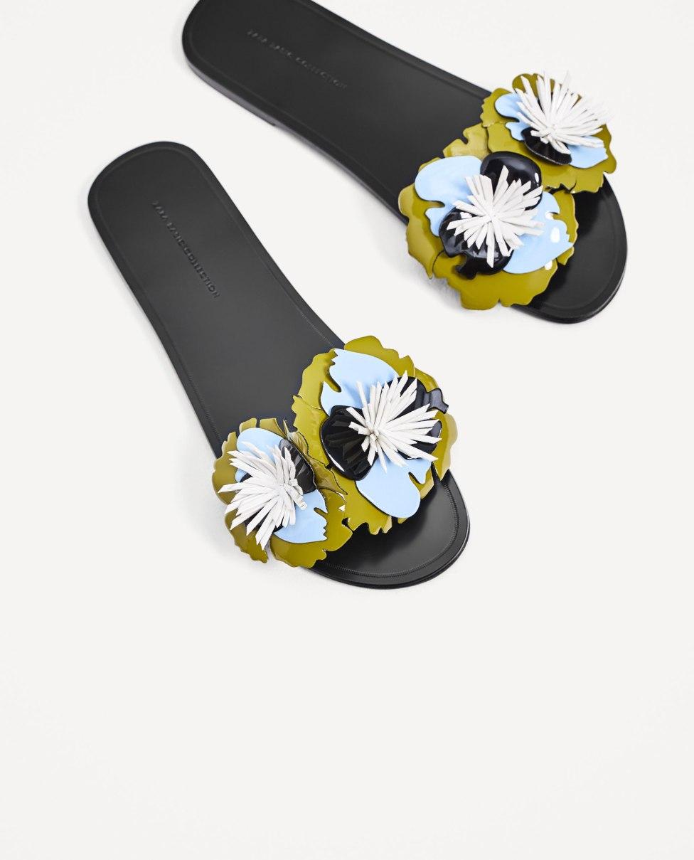 Zara floral rubber slides