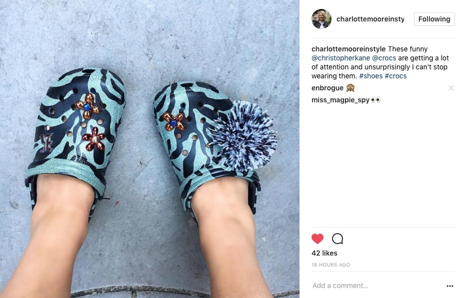 Charlotte Moore wearing Crocs