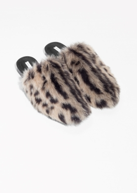 & Other Stories faux fur slippers