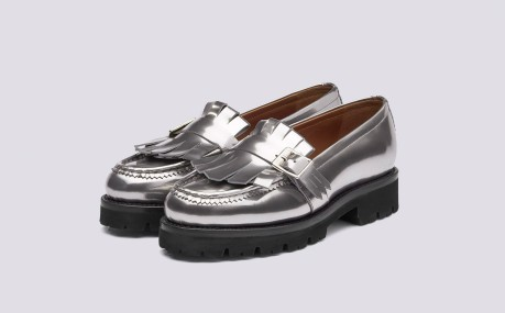 Grenson Orla silver loafers