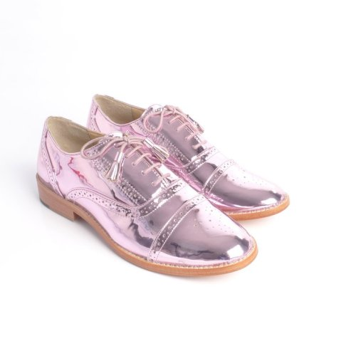 Tint London metallic pink brogues