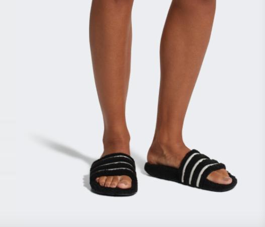 adidas adilette teddy slides black