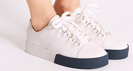 Marks and Spencer white two-tone trainers