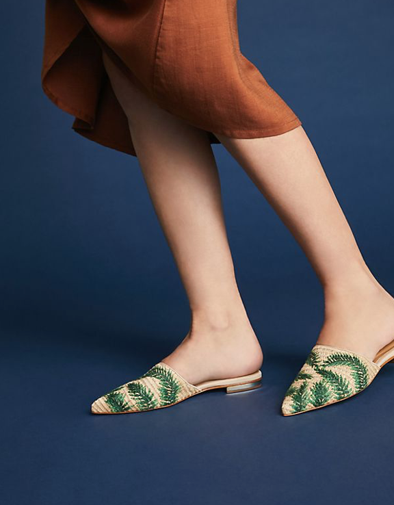 Anthropologie palm print mules
