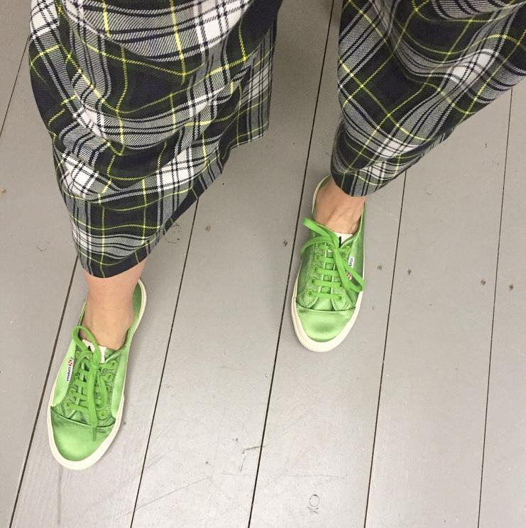 Alexa Chung Superga green satin