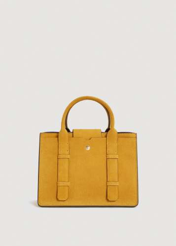Mango yellow suede bag