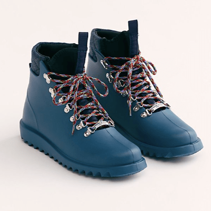 Free People blue hiker wellies
