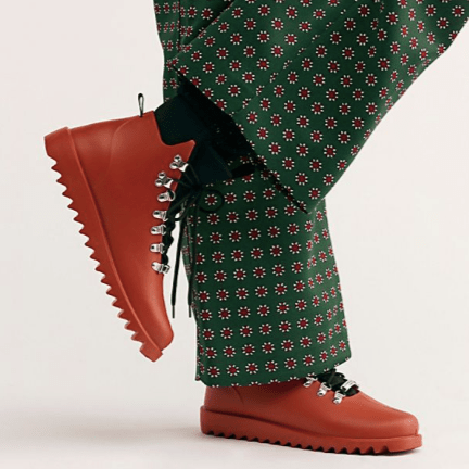 Free People orange hiker wellies